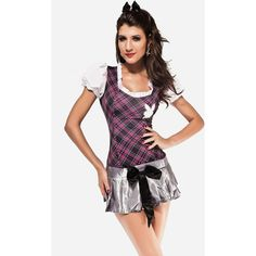 Sexy Plaid School Girl Cosplay Uniform Costume ($30) ❤ liked on Polyvore featuring costumes and purple