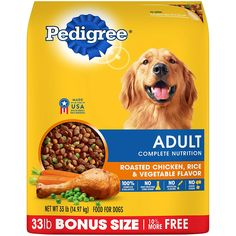 PEDIGREE Adult Complete Nutrition Roasted Chicken, Rice & Vegetable Flavor Dry Dog Food is formulated to give dogs all of the energy and nourishment they need to continue living life to the fullest. Best Dry Dog Food, Make Dog Food, Cheap Dog Food, Wet Dog Food, Dry Cat Food, Homemade Dog Food, Pet Food, Roast Chicken And Rice, Chicken Rice