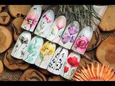 Васильки на ногтяхФлористикаЛетний дизайнПростой дизайн ногтейДизайн ногтей гель лаком - YouTube