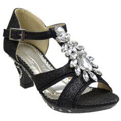 Kids Dress Sandals Petal Gemstone Embellishments High Heel Shoes Black