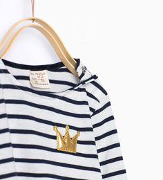 Shiny appliqué striped T-shirt-T-shirts-Baby girl (3 months - 3 years)-KIDS | ZARA United States