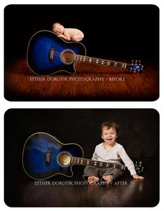 child photography, toddler photography, before and after photography, newborn photography, guitar