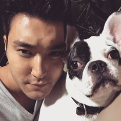 Siwon and his dog Bugsy - Super Junior