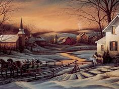~ Peaceful Winter's Night in the Village ~ Art by Terry Redlin ~ ♥ :)  https://www.facebook.com/photo.php?fbid=424301350979682=a.352643578145460.81730.352631861479965=1