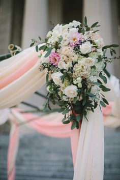 Blush and cream chuppah flowers // Rosemary & Finch Floral Design