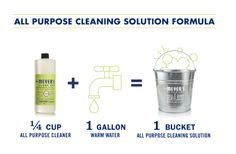 our formula for a bucket of all purpose cleaning solution - use to clean all non-porous home surfaces (floors, counters, bathroom and kitchens surfaces, outdoor furniture, etc)