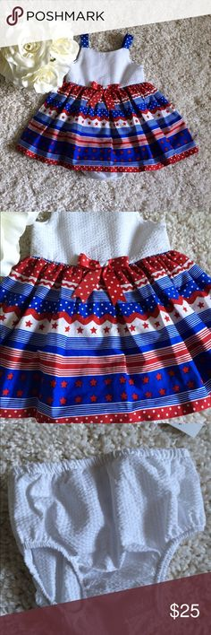 NWT Stars Red white and blue patriotic Dress Brand new with tags. Diaper cover included. Beautiful red, white and blue dress. With stripes and stars. Alison ann Dresses