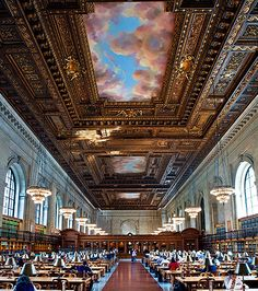 New York public library reading room.