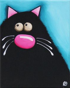 Fat Cat Art Original painting whimsical black cat Lucia Stewart turquoise (4) #Modern
