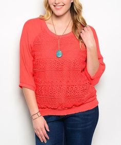 Take a look at this Orange Crochet Blouson Top - Plus on zulily today!