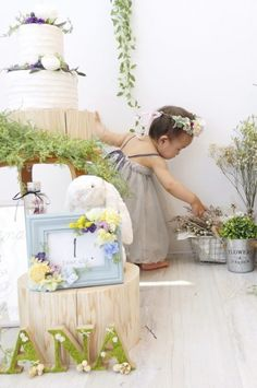GARDEN Clipする Baby Art, Botanical Gardens, First Birthdays, New Baby Products, Bloom, Birthday Parties, Milk Bath, Table Decorations, Party