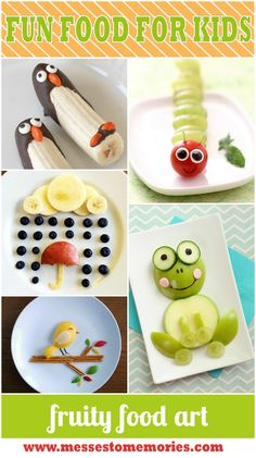 Fruity Food Art from Messes to Memories entertaining ideas for feeding kids 15 Fun Food Art for Kids. Some super engaging ideas for your kids' snack time! 15 Fun Food Art for Kids Ideas - Give kids the Cute Food, Good Food, Yummy Food, Delicious Recipes, Toddler Meals, Kids Meals, Toddler Food, Baby Food Recipes, Snack Recipes