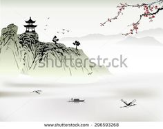 Image result for chinese landscape art featuring temples