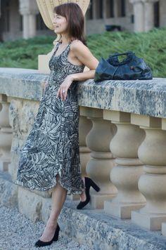Smocked Silk Georgette dress in Hand batik.