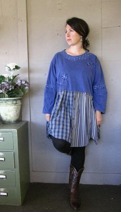 M - L - 2X plus size oversized eco Artsy upcycled clothing Romantic Tunic Urban Funky dress top rustic prairie ranch cowgirl boho chic. $55.50, via Etsy.