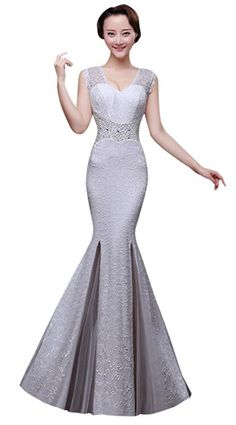 f707793fe83 Drasawee Sexy Mermaid Lace Long Prom Evening Dress for Women White US16  Evening Dresses