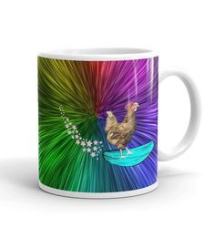 Excited to share the latest addition to my #etsy shop: Outer Space Rooster rainbow Mug, Roosters, surfing, surfboards, beach, gag gifts, farmhouse decor, mugs, humorous mugs, Chickens #surfinghumor