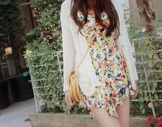 Floral dress and white cardigan