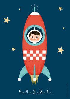 Affiche déco pour chambre d'enfant * La tête dans les étoiles * : Décoration pour enfants par pagaille-et-cie