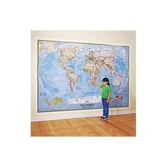 OVERSIZED WORLD MAP GIANT EXTRA LARGE POLITICAL GLOBE WALL POSTER ART BLUE OCEAN