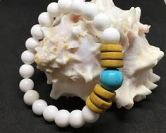 Excited to share the latest addition to my #etsy shop: Womens White Jade And Turquoise Beaded Bracelet, girls Bracelet, yoga bracelet, Boho Bracelet, Girlfriend Gift, Girl Gift,