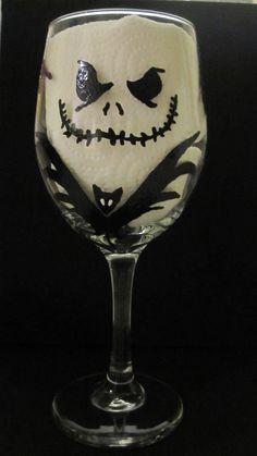 Nightmare Before Christmas Wine Glass. $25.00, via Etsy. OMG love it! Jack Skelington!
