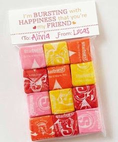 Cool idea for school Valentines exchanges.  Web site has free printables for top of bags.