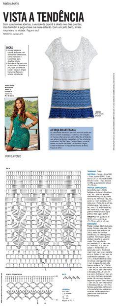 Revista Manequim Maio 2015: Com suas tramas abertas, o vestido de crochê é aliado nos dias quentes, mas também é peça-chave na meia-estação. Com um jeito boho, arrasa na praia e na cidade. Faça o seu!