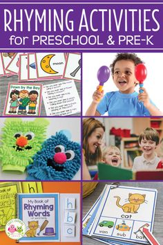 Repeated exposure to rhyming activities will help your kids build this important early literacy skill. Here are many activity ideas for teaching rhyme. Rhyming Preschool, Nursery Rhymes Preschool, Nursery Rhymes Games, Rhyming Activities, Kindergarten Activities, Preschool Ideas, Literacy Skills, Early Literacy, Phonological Awareness Activities