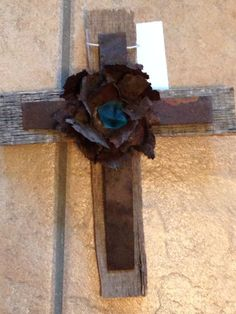 Rustic New Mexico Aqua Blue Desert Sea Glass, Antique Metal, Antique Wire, and Old Wood from Farm Crates Wall Cross on Etsy, $26.00