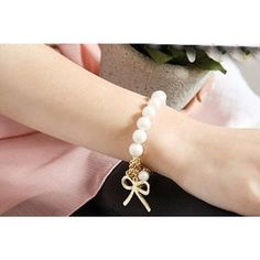 New Fashion Exquisite Cute Lovely Charm Imitation Pearl Bowknot Bangle Bracelet