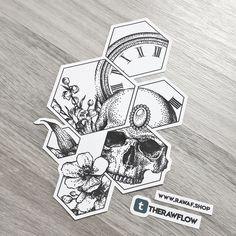 Dotwork clock flowers skull tattoo design with hexagons - high resolution file download: www.rawaf.shop