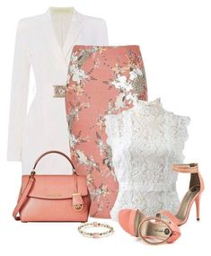 Peach Bag and Shoes featuring style Oscar de la Renta Versace River Island Michael Antonio MICHAEL Michael Kors Ippolita clothing Classy Outfits, Chic Outfits, Summer Outfits, Woman Outfits, Skirt Outfits, Mode Ootd, Mode Outfits, School Outfits, Business Attire