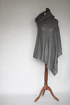 Knit poncho, sweater wrap, gray poncho, gray scarf, women sweater, gray cape, gray sweater, knit cape, knit scarf,knit sweater,women fashion