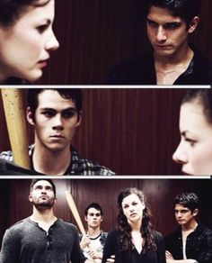 Teen wolf I love this episode Scotts face is like bitches get stitches and stiles is like talk shit get hit
