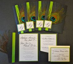 These elegant peacock inspired Wedding Invitations by 1OfAKindCustomDesign are absolutely beautiful! <3