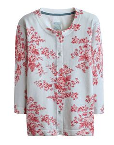 Joules EDANA Womens Printed Cardigan, Silver Flower. Feel like the pick of bunch in this fantastic floral printed cardigan. It will remain a favourite long after the flowers in your garden have departed. A great lightweight layer to wear inside or out.
