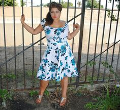 Womens Plus Size Dress, Blue with White Floral Design, Rockabilly,Pin Up,Retro style.