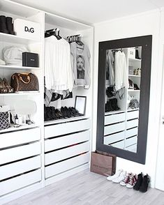 16 Stylish Wardrobe Ideas That Use The Ikea Pax The Ikea pax is one of the most popular wardrobe and closet systems used. Here are 16 of the most stylish wardrobe ideas using the Pax from Ikea. Wardrobe Storage, Bedroom Wardrobe, Wardrobe Closet, Closet Bedroom, Bedroom Decor, Small Wardrobe, Ikea Walk In Wardrobe, Wardrobe Organiser, Wardrobe Furniture