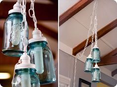 Hanging mason jar lights DIY, love the white chain