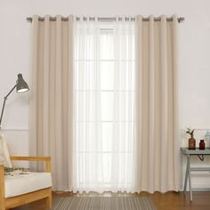 Best Home Fashion Silver Grommet Solid Blackout Mix and Match Curtains - Set of 4 - MM_SLINEN_GS-84-BEIGE