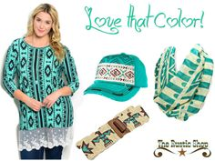 Teal Aztec  from the Rustic Shop, http://www.therusticshop.com/?store=westerncharm