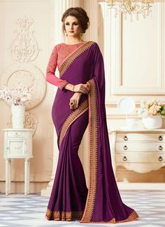 Lovely Purple Colored Designer Silk Saree