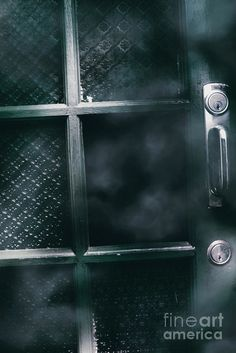 Horror house details on the missing glass pane in a old spooky door with Halloween mist and eerie details. Domestic disturbance by Jorgo Photography - Wall Art Gallery