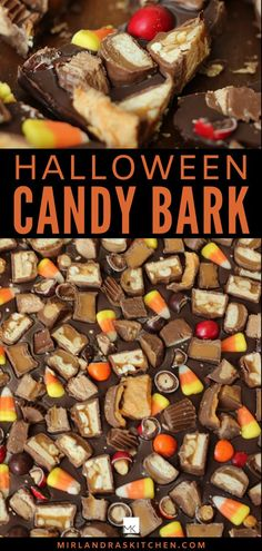 This Fall Candy Bark is a made up of a wonderful, rich milk chocolate base customized with your favorite candy bars and candy corn. A candy lovers paradise!  It is easy to make with leftover Halloween candy or make it to eat on Halloween instead of trick or treating! #halloween #candyrecipe #fallactivity #treat #dessert #chocolate