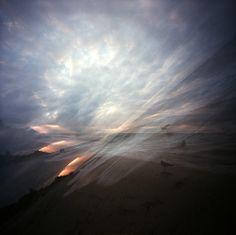 pinhole shot, multiple exposure, triple sunset by #Novemberkind