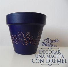 Cómo decorar una maceta con #Dremel.