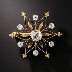 Victorian Diamond Snowflake Pin and Pendant