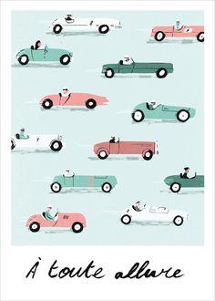 Affiche Illustration Voiture Vintage de Simon Bailly                                                                                                                                                                                 Plus