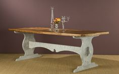 Eneby dining table - reclaimed wood top with distresseds white wood base.. Bobo's Intriguing Objects!!!